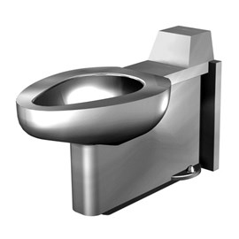 On-Floor, Floor Waste, Siphon Jet Stainless Steel Security Toilet for Rear Mount (Chase) Application