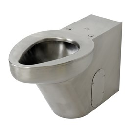 Stainless Steel Replacement for Most On-Floor, Floor Waste, Siphon Jet Commercial Vitreous China Toilet, Front Mount